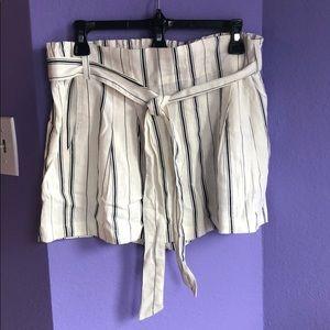 Cream colored linen shorts